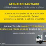 Centro Distribucion Tucapel cuarentena solo dspachos programados
